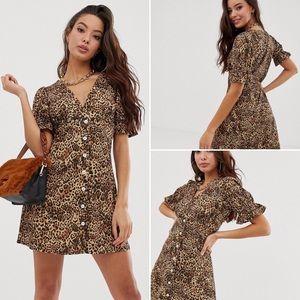 ASOS Dresses - ASOS Leopard Print V-neck Ruffled Dress Sz 2